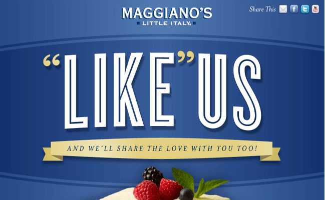 Like Maggiano's on Facebook
