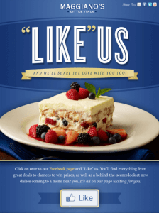 "Maggiano's ""Like"" Us on Facebook"