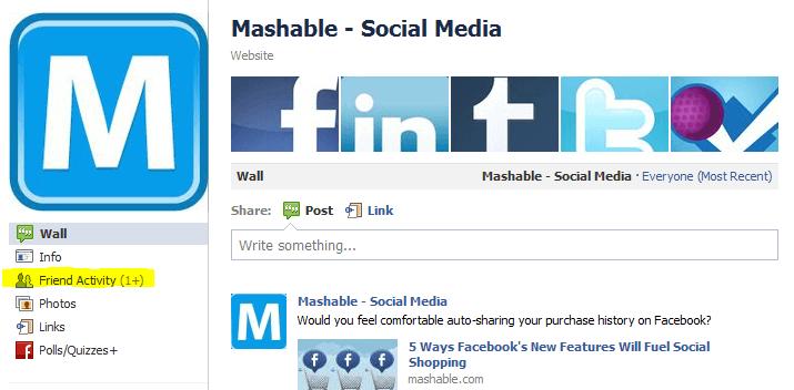Facebook friend activity