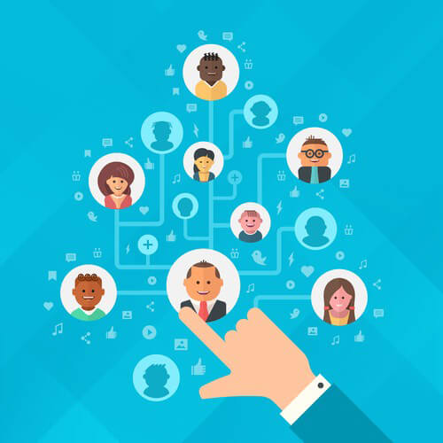 Concept of building audience of followers. Human hand forming a tree of audience for social media marketing strategy, online business and advertising